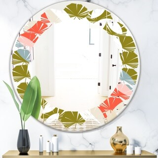 Designart 'Retro Botanical Pattern I' Modern Round or Oval Wall Mirror - Leaves