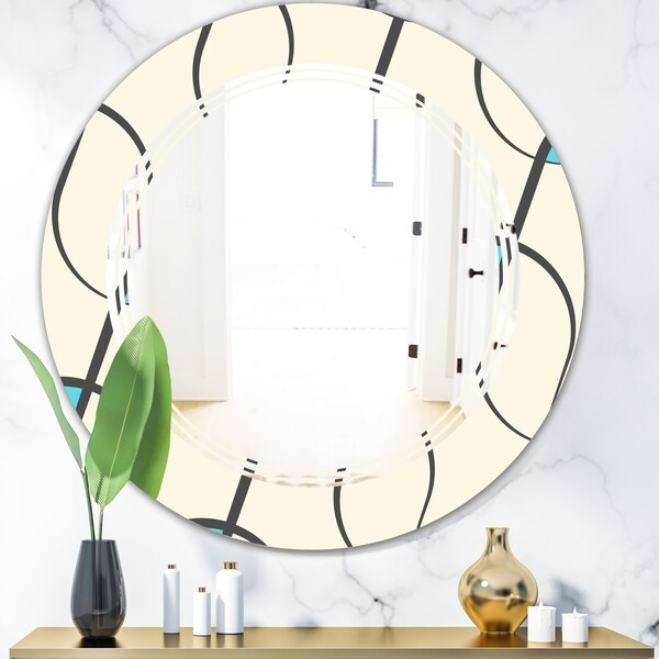 Designart 'Retro Geometrical Abstract Minimal Pattern I' Modern Round or Oval Wall Mirror - Triple C
