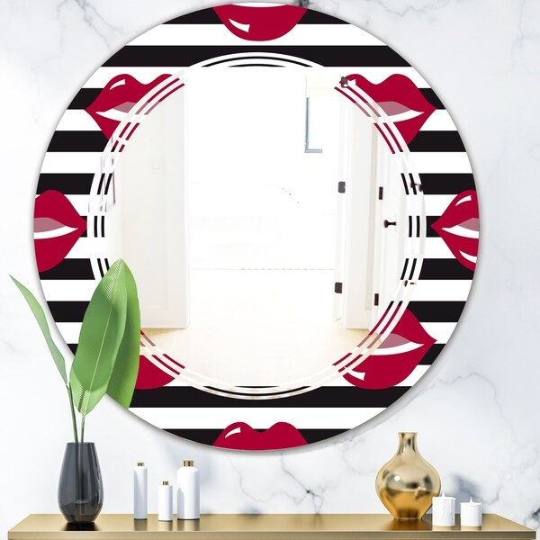 Designart 'Red Lips Fashion Pattern' Modern Round or Oval Wall Mirror - Triple C