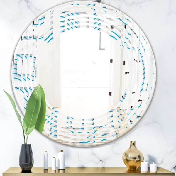 Designart '3D White and Blue Pattern I' Modern Round or Oval Wall Mirror - Wave