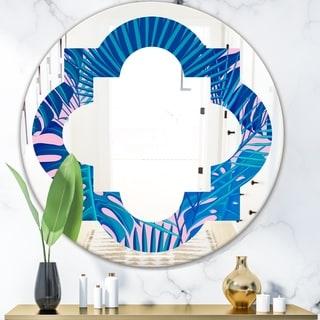 Designart 'Retro Floral Pattern X' Modern Round or Oval Wall Mirror - Quatrefoil