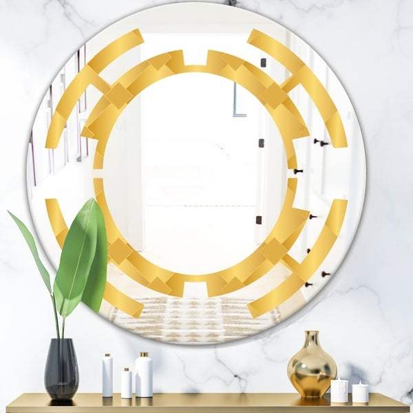 Designart 'Golden Geometric I' Modern Round or Oval Wall Mirror - Space