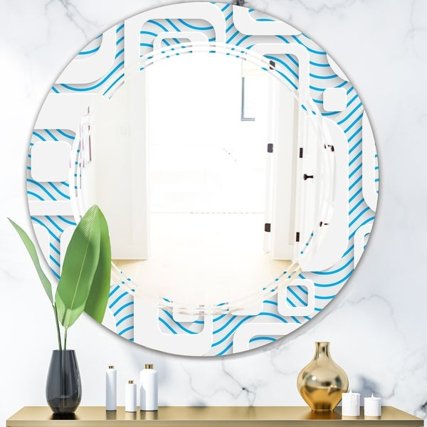Designart '3D White and Blue Pattern I' Modern Round or Oval Wall Mirror - Triple C