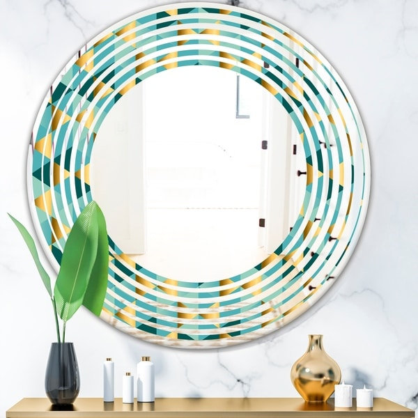 Designart 'Gold and Blue Dynamics V' Modern Round or Oval Wall Mirror - Wave