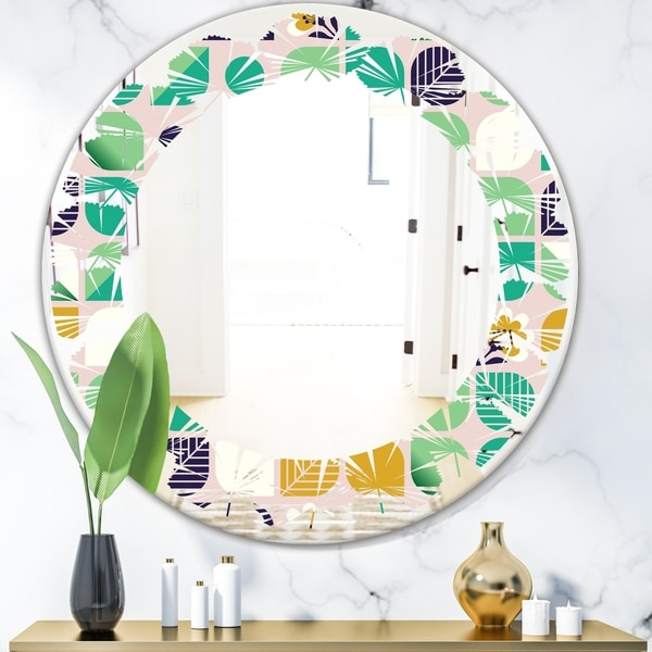 Designart 'geometric pattern with leaves and flowers' Modern Round or Oval Wall Mirror - Leaves