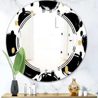Designart 'Monochrome Geometric Pattern V' Modern Round or Oval Wall Mirror - Triple C