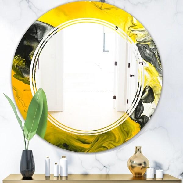 Designart 'Marbled Yellow 5' Modern Round or Oval Wall Mirror - Triple C