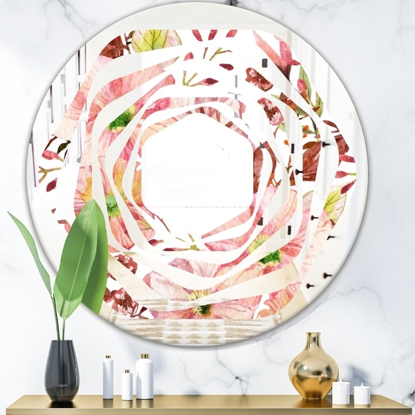 Designart 'Floral Botanical Retro II' Cottage Round or Oval Wall Mirror - Whirl