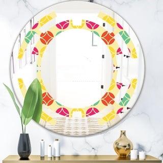 Designart 'Retro Circular Pattern VII' Modern Round or Oval Wall Mirror - Space - Multi