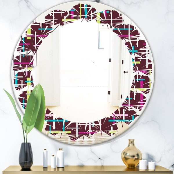Designart 'Retro Abstract Design XVII' Modern Round or Oval Wall Mirror - Leaves - Multi