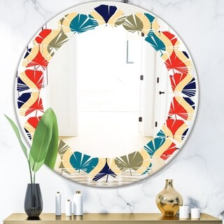 Designart 'Retro Ornamental Design VI' Modern Round or Oval Wall Mirror - Leaves - Multi