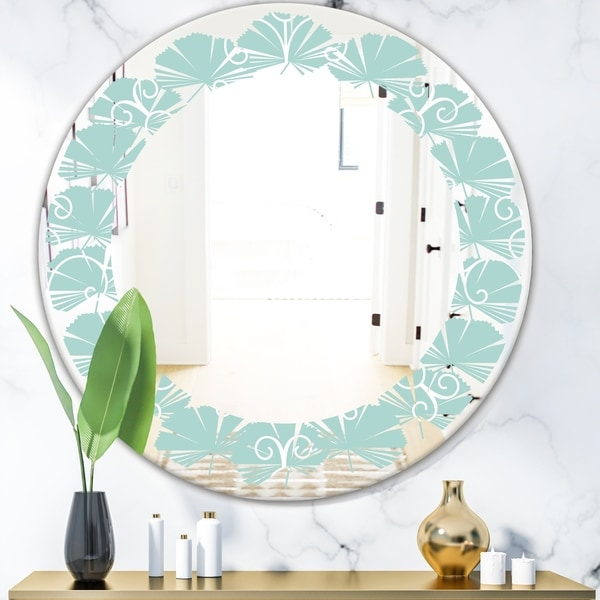 Designart 'Turquoise Minimal Ornament' Modern Round or Oval Wall Mirror - Leaves