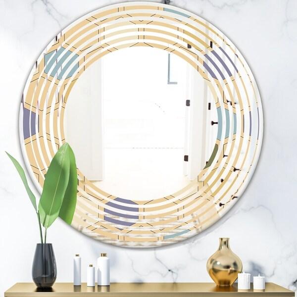 Designart 'Retro Hexagon PatternX' Modern Round or Oval Wall Mirror - Wave