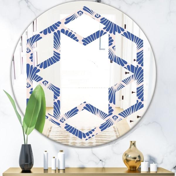 Designart 'Retro Blue Waves' Modern Round or Oval Wall Mirror - Hexagon Star