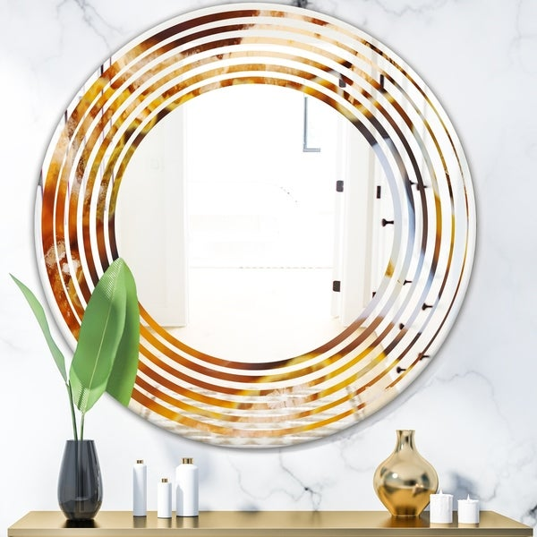 Designart 'Natural brown agate' Modern Round or Oval Wall Mirror - Wave