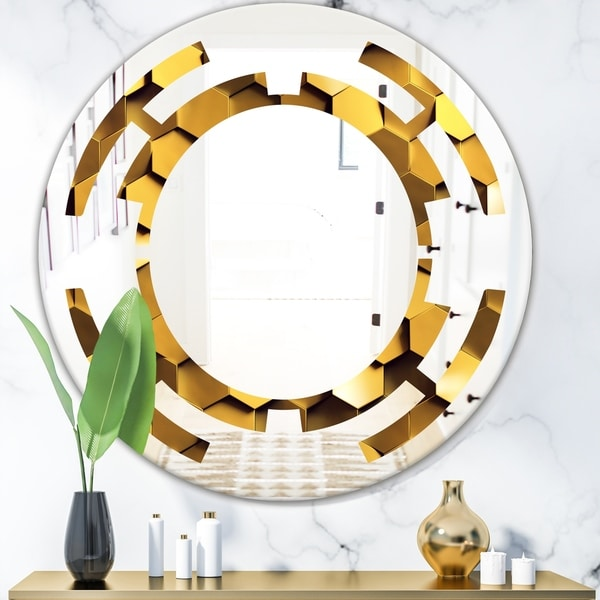 Designart 'Golden Honeycomb Wall Texture' Modern Round or Oval Wall Mirror - Space