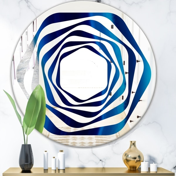 Designart 'Crystal Stones' Modern Round or Oval Wall Mirror - Whirl
