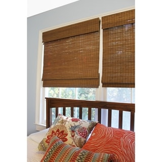 """Link to 48"""" Drop Cordless Maple Cape Cod Flatweave Bamboo Roman Shade Similar Items in As Is"""