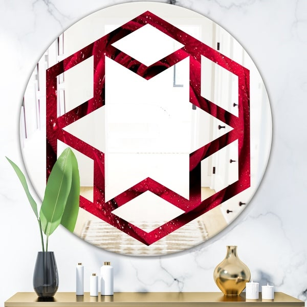 Designart 'Red Rose Petals with Rain Droplets' Modern Round or Oval Wall Mirror - Hexagon Star