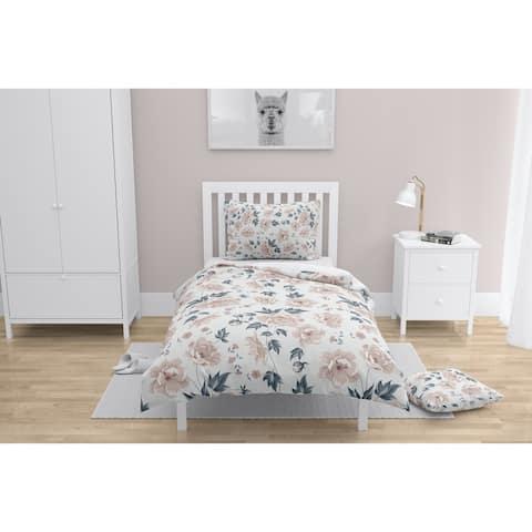 COLETTE PINK FLOWER ON WHITE Comforter by Kavka Designs