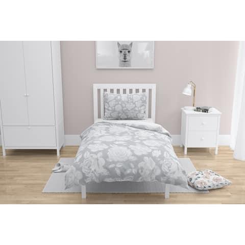 ROSE WHITE FLOWER GREY Comforter by Kavka Designs