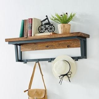 "Claremont 40""L Rustic Wood Coat Hook with Shelf"