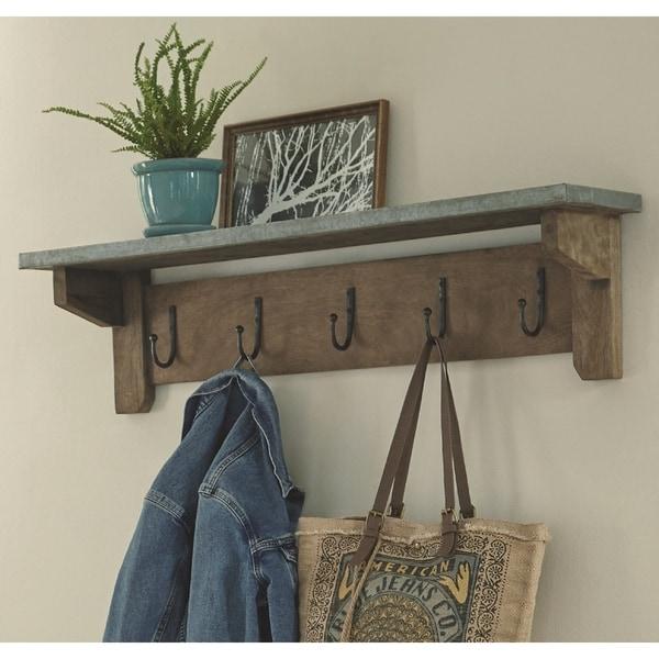 "Millwork 40"" Wood with Zinc Top Hook Shelf"