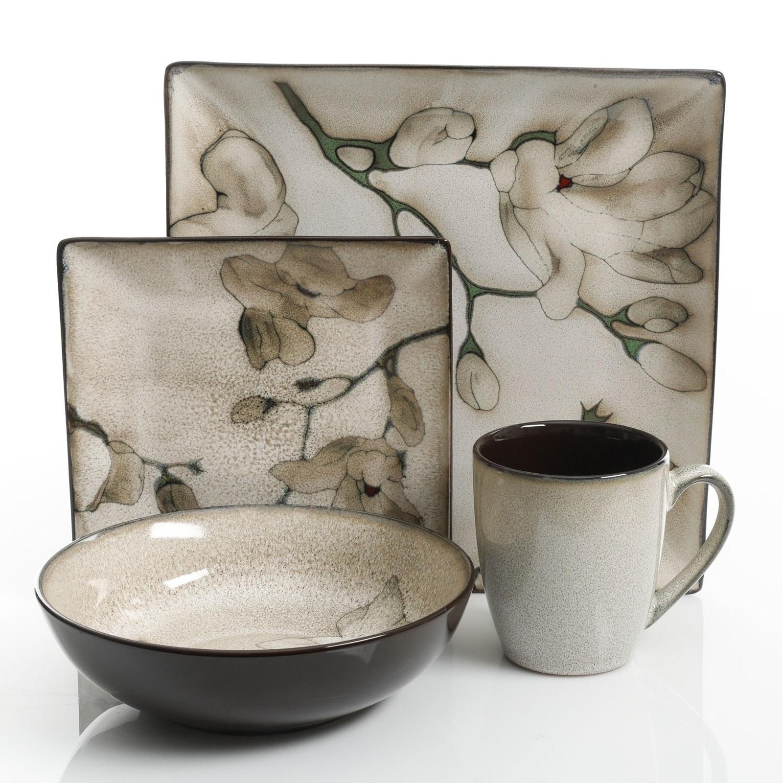 White Boa Print Plate Bowl Mug 16-Pcs Square Modern Stone Dinnerware Set Black