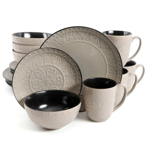 Gibson Elite Milanto 16 Piece Stoneware Dinnerware Set in Grey