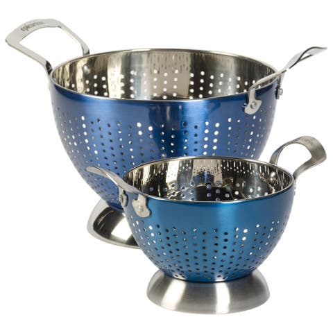 Epicurious 2Pc Colander Set Stainless Steel Blue