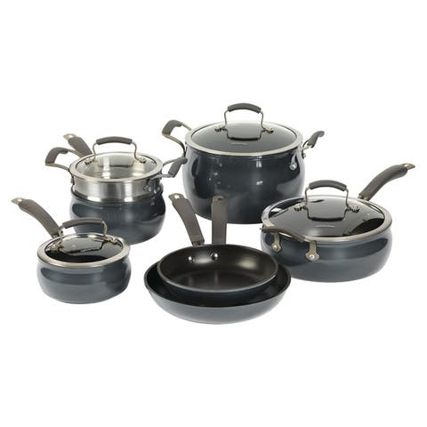 Epicurious 11Pc Cookware Set Non-Stick Translucent Aluminum Charcoal Black