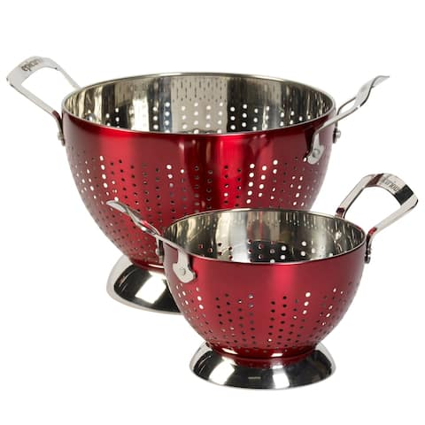 Epicurious 2Pc Colander Set Stainless Steel Red