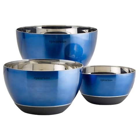 Epicurious 3Pc Mixing Bowl Set Stainless Steel w/ Silicone Base Blue