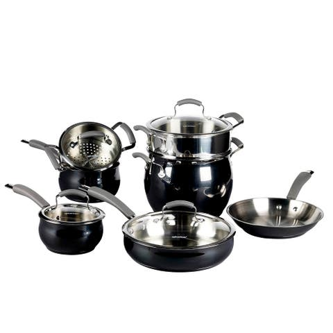 Epicurious 11Pc Cookware Set Stainless Steel Caviar