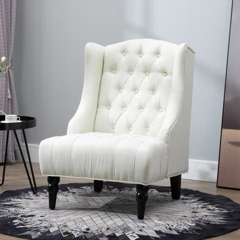 Copper Grove Erin Linen-upholstered Button-tufted Tall Wingback Accent Chair with Wood Legs