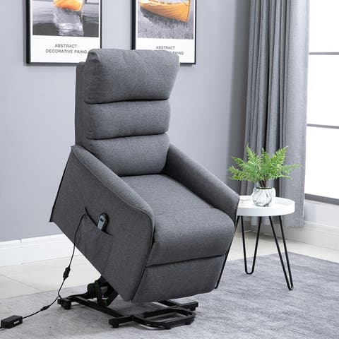 HOMCOM Power Lift Assist Recliner Chair with Wheels and Remote