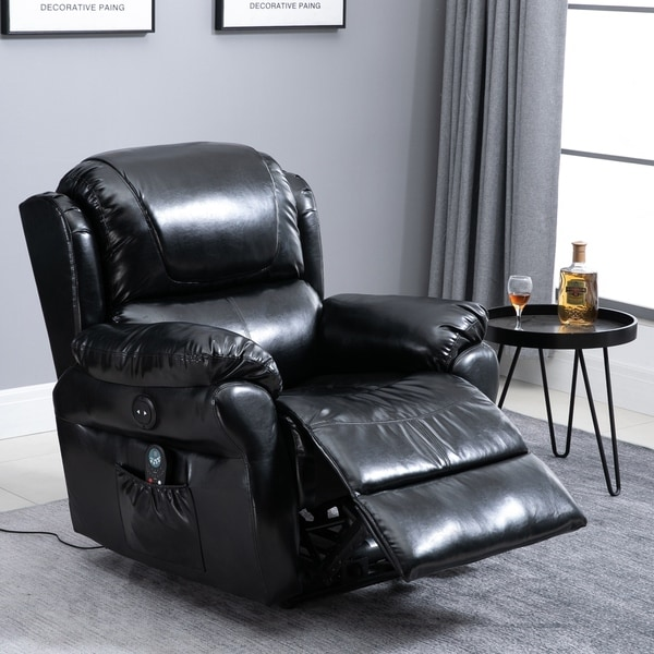 Power Massage Recliner Chair with Heat and Remote Control, 8 Massaging Points, PU Leather