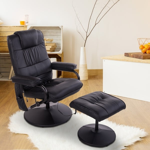 HOMCOM Massaging PU Leather Recliner and Ottoman with Leather Wrapped Base