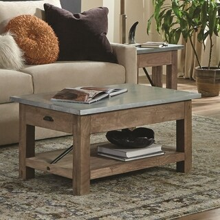 """Millwork 36"""" Wood and Zinc 36"""" Metal Coffee Table with Shelf"""