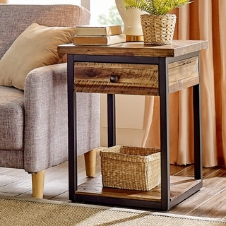 Carbon Loft Ciaravino Rustic Wood End Table with Drawer and Low Shelf