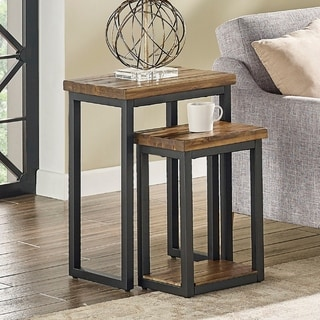 Claremont Rustic Wood Nesting End Tables, Set of Two