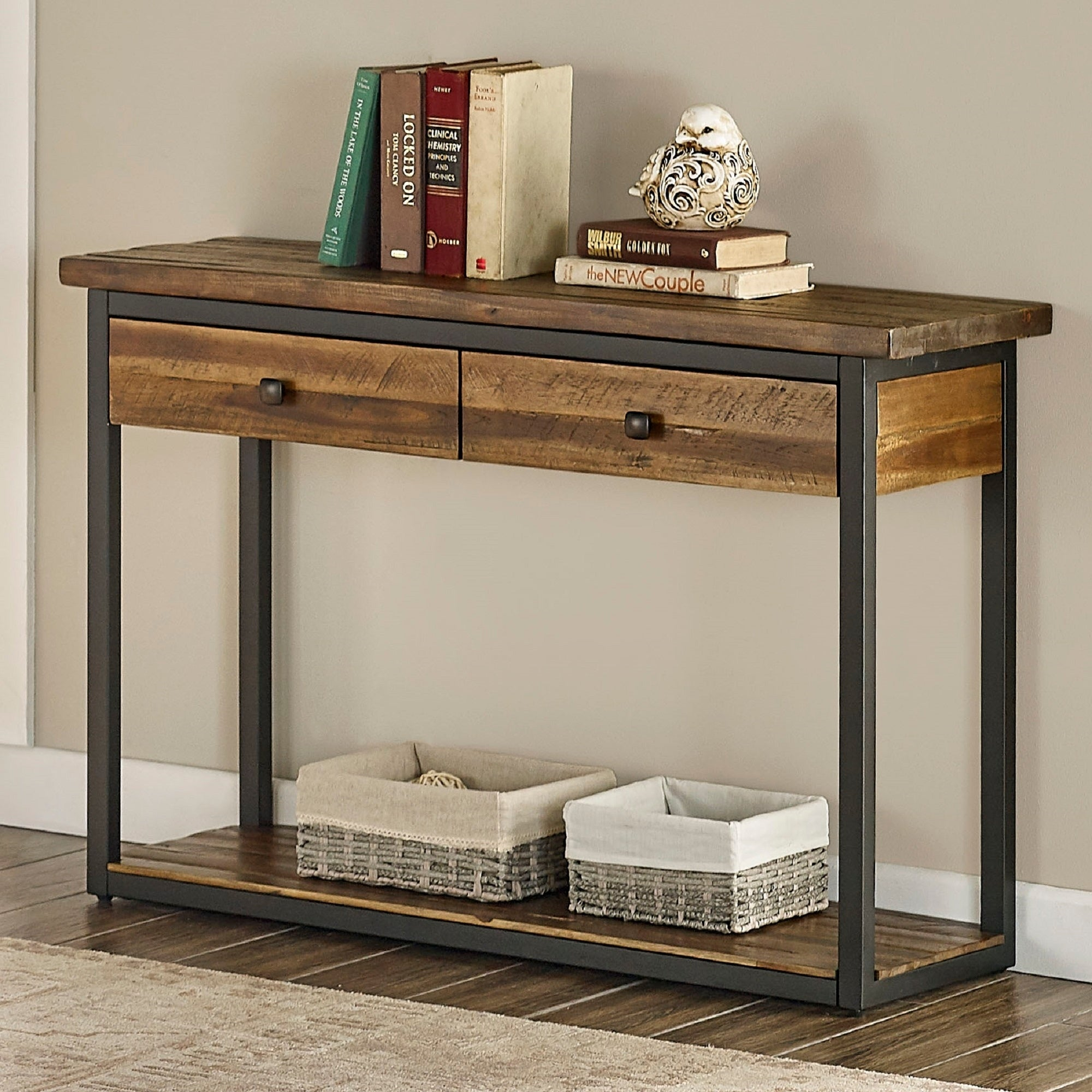 Claremont 43 L Rustic Wood Console Table With Two Drawers And Low Shelf