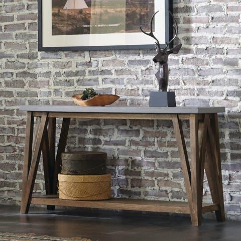 Carbon Loft Omer 52-inch Concrete Top Wood Console Table
