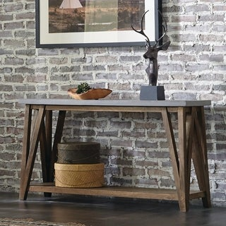 """Brookside 52"""" Wide Concrete coated-Top Wood Consolea Table"""