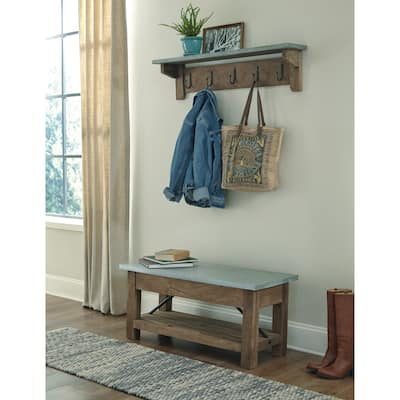 Carbon Loft Blitz 40-inch Wood and Zinc Metal Bench with Shelf Coat Hook Set