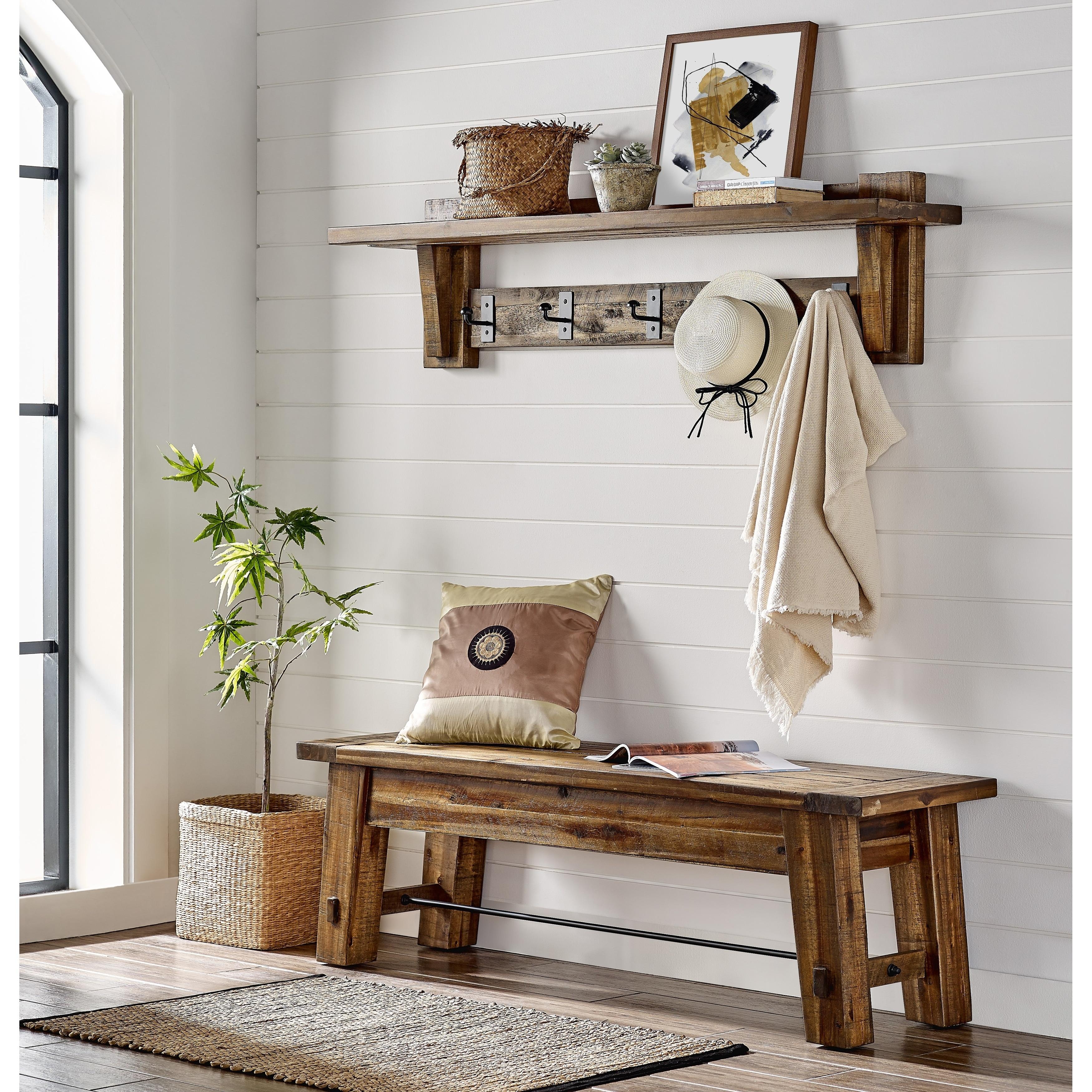 Carbon Loft Bahamondes Wood Coat Hook Shelf and Bench Set - On