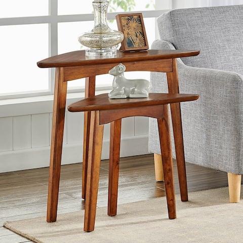 Carson Carrington Yttertanger 24-inch Mid-Century Wood Triangular Nesting End Table (Set of 2)