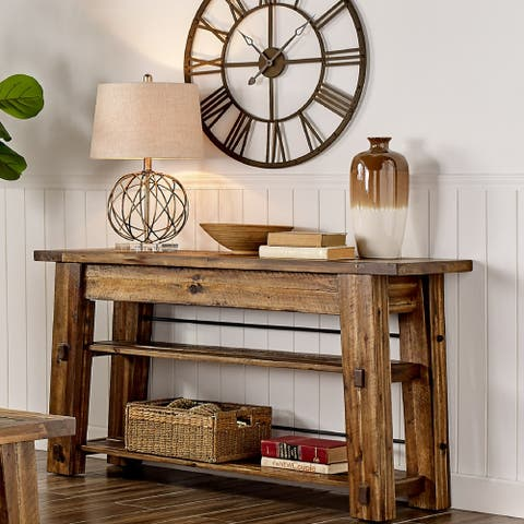 Carbon Loft Bahamondes 54-inch Long Industrial Wood Console Table with 2 Shelves