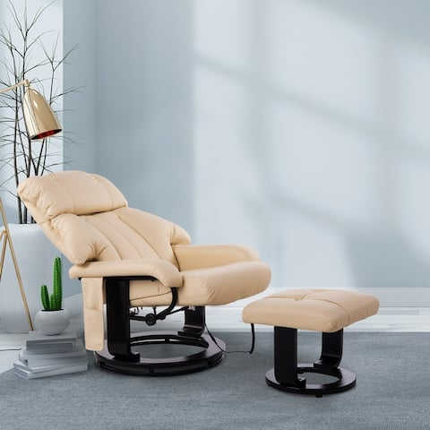 PU Leather Massage Swivel Recliner Chair and Ottoman
