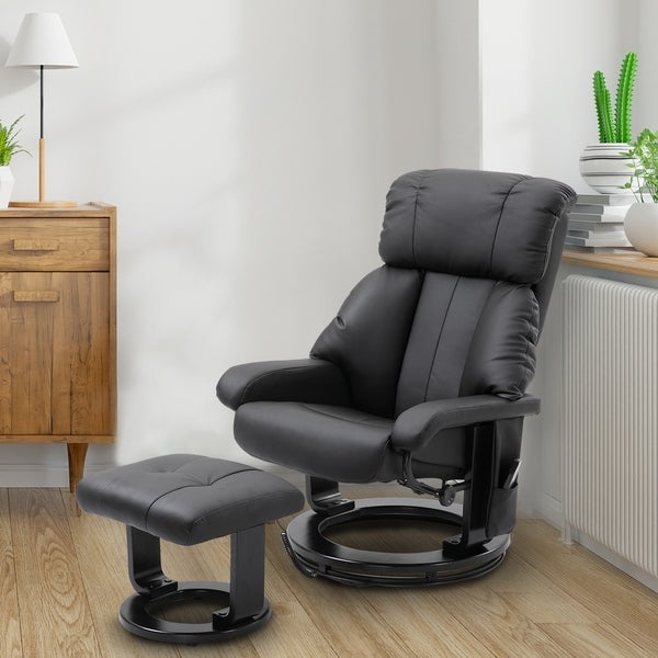 PU Leather Massage Swivel Recliner Chair and Ottoman. Opens flyout.